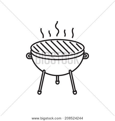 Bbq grill vector icon isolated on white background. Line icon barbecue grill.