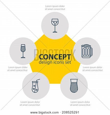 Editable Pack Of Glass, Goblet, Draught And Other Elements.  Vector Illustration Of 5 Drinks Icons.