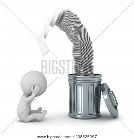 A stressed 3D character with a garbage can overflowing of papers. Isolated on white background.