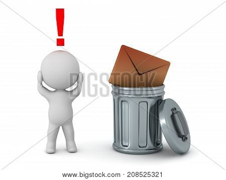 A stressed 3D character with a mail envelope thrown in the trash. Isolated on white background.