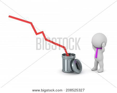 A 3D character stressed with a statistics bar going into the trash. Isolated on white background.