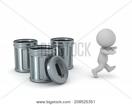 A 3D character running away from three trash cans. Isolated on white background.