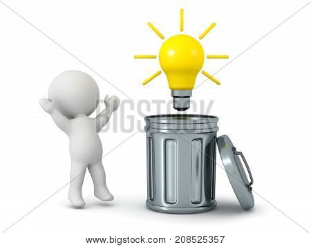 A 3D character finding a light bulb idea inside a trash can. Isolated on white background.