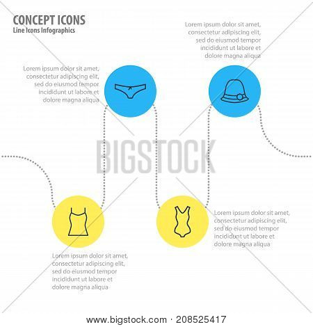 Editable Pack Of Panties, Singlet, Panama And Other Elements.  Vector Illustration Of 4 Garment Icons.