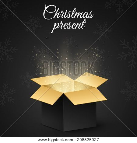 Christmas golden box with a secret gift for the holiday. Abstract glow and golden lights. Dark background. New Year's snowflakes. Open magic gift box. Vector illustration