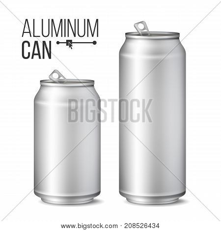 Aluminium Cans Vector. Silver Can. Branding Design. Blank Can Beer Of Soft Drink. Isolated Illustration