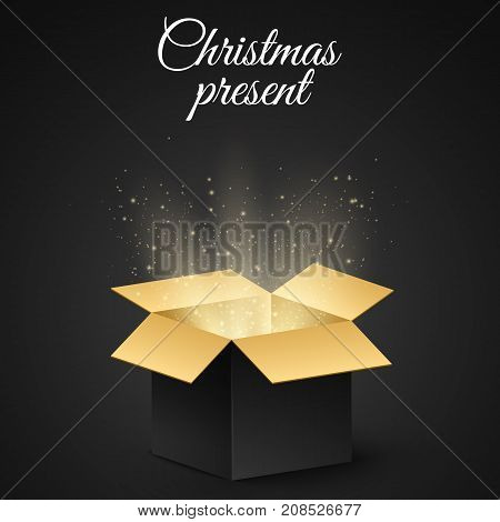 Christmas golden box with a secret gift for the holiday. Abstract glow and golden lights. Dark background. Open magic gift box. Vector illustration