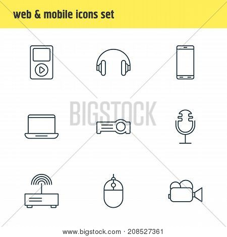 Editable Pack Of Headset, Camcorder, Computer And Other Elements.  Vector Illustration Of 9 Technology Icons.