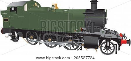 A detailed illustration of a Vintage Green and Black Ten Wheeled Steam Freight Locomotive isolated on white