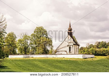 Chapel of Our Mother God near Veveri castle Moravia Czech republic. Religious architecture. Travel destination. Beauty photo filter.