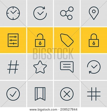 Editable Pack Of Closed, Padlock, Time And Other Elements.  Vector Illustration Of 16 Application Icons.