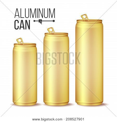 3d Cans Set Vector. Gold, Yellow Can. Beer, Lager, Alcohol, Soft Drink, Soda. 500 And 300 ml Isolated On White Background Illustration