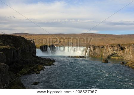 Godafoss famous waterfall in Iceland. Autumn scene.