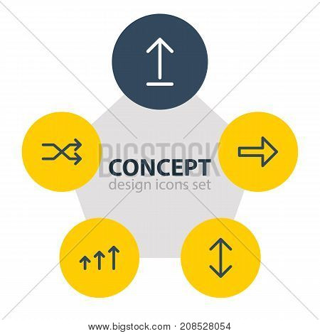 Editable Pack Of Randomize, Right, Submit Elements.  Vector Illustration Of 5 Sign Icons.