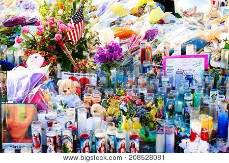 LAS VEGAS - 10/07/2017 - Dedicated flower bed of the Las Vegas Shooting victims attend a candlelight vigil on the Las Vegas Strip Near the Mandalay Bay.