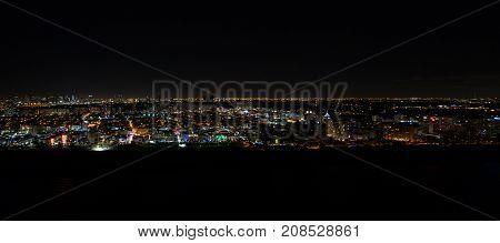 Aerial panoramic image of Miami Beach at night