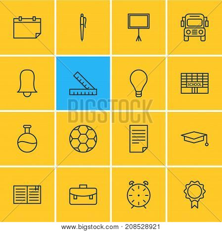 Editable Pack Of Date, Write Table, Portfolio And Other Elements.  Vector Illustration Of 16 Education Icons.