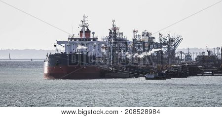 Ships unloading at Fawley refinery Near Southampton