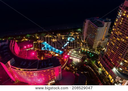 Aerial Miami Beach Fontainebleau Hotel Valet Ramp And Pool At Night