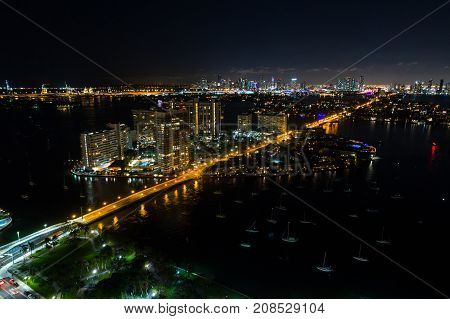 Aerial Night Photo Of Belle Isle Island Miami Beach