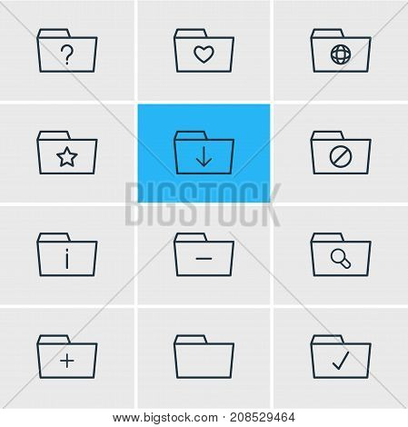 Editable Pack Of Done, Locked, Pinned And Other Elements.  Vector Illustration Of 12 Dossier Icons.
