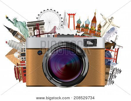 real compact travel camera with world landmark
