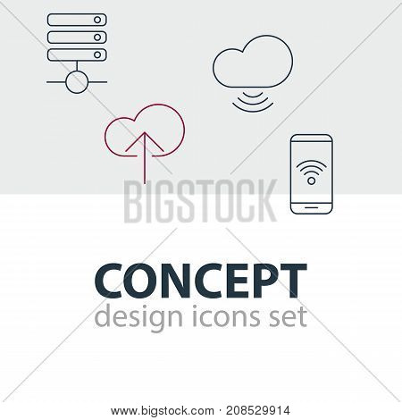 Editable Pack Of Server, Telephone, Cloud Download And Other Elements.  Vector Illustration Of 4 Web Icons.