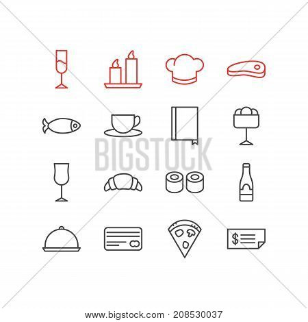 Editable Pack Of Tray, Alcohol, Book And Other Elements.  Vector Illustration Of 16 Eating Icons.
