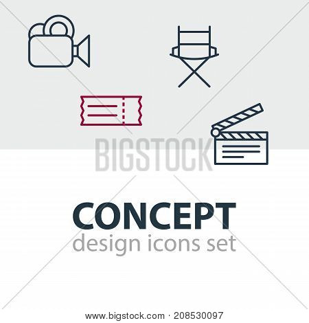 Editable Pack Of Shooting Seat, Coupon, Clapper And Other Elements.  Vector Illustration Of 4 Cinema Icons.