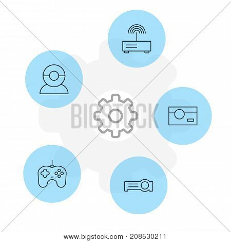 Editable Pack Of Video Chat, Photography, Floodlight And Other Elements.  Vector Illustration Of 5 Technology Icons.