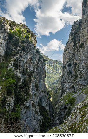 Ruta Del Cares Trail In Picos De Europa Mountains Spain