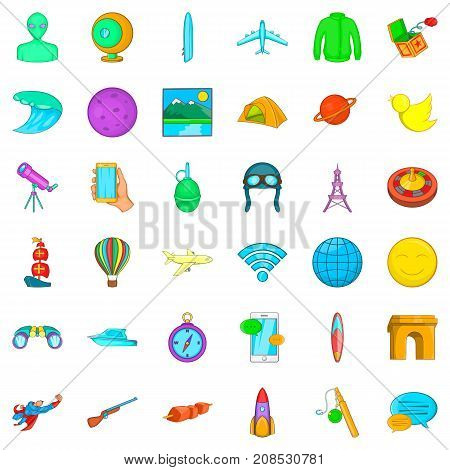 Planet icons set. Cartoon style of 36 planet vector icons for web isolated on white background