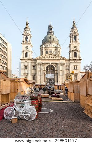 BUDAPEST, HUNGARY - January 02, 2017 : Deconstruction of one of the biggest christmas markets in Budapest after the holidays