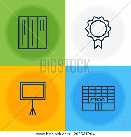 Editable Pack Of Trophy, School, Bookshelf And Other Elements.  Vector Illustration Of 4 Science Icons.