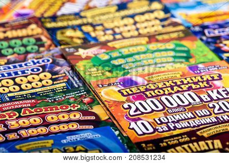 SOFIA, BULGARIA - September 07, 2017 : Pile of different Bulgarian lottery scratch tickets
