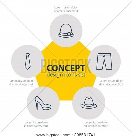 Editable Pack Of Fedora, Cravat, Panama And Other Elements.  Vector Illustration Of 5 Garment Icons.