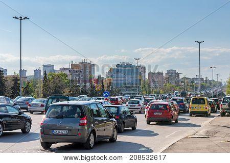 SOFIA, BULGARIA - April 25, 2017 : Traffic jam and rush hour at Tsarigradsko Shose boulevard