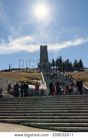 SHIPKA MONUMENT BULGARIA - March 05 2017 : People at Shipka national monument of liberty