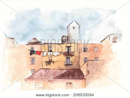Watercolor Sketch of houses. Hand painted illustration. European city. Landscape artwork. Street in the old town.Italy.  Architecture painting. Urban drawing.
