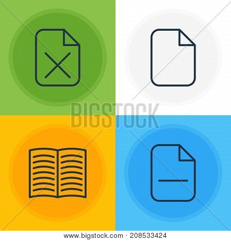 Editable Pack Of Minus, Textbook, Document And Other Elements.  Vector Illustration Of 4 Bureau Icons.