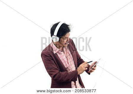 Asian Businessman Use Earphone And Lecture On Smartphone Isolate On White Background