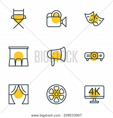 Editable Pack Of Slideshow, Shooting Seat, Theater And Other Elements.  Vector Illustration Of 9 Cinema Icons.