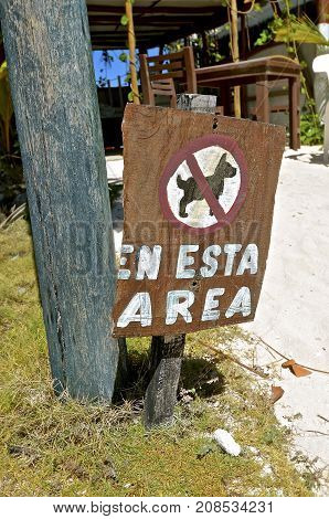 Sign at a resort prohibiting dogs from entering