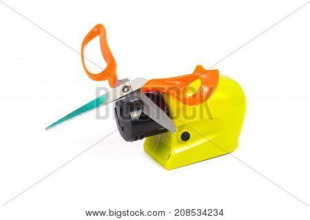 Sharpener Scissor Machine On White