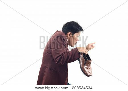 Crazy Businessman Holding Shoes And Try To Sneak Back In, Do Not Get Me Wrong Isolate On White Backg