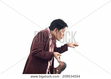 Crazy Businessman Holding Shoes And Stalk Back In, Do Not Get Me Wrong Isolate On White Background