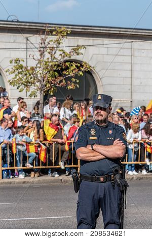 Madrid Spain - October 12 2017: Police in the army parade for the National Day of Spain. Several troops take part in the army parade for Spain's National Day.