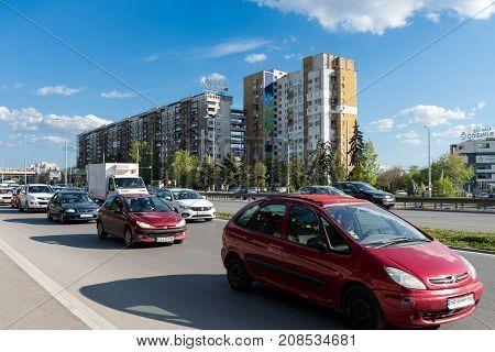 SOFIA BULGARIA - April 25 2017 : Traffic jam and rush hour at Tsarigradsko Shose boulevard