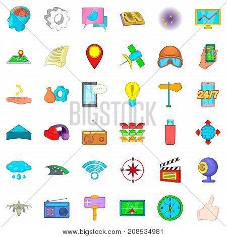 Jet icons set. Cartoon style of 36 jet vector icons for web isolated on white background