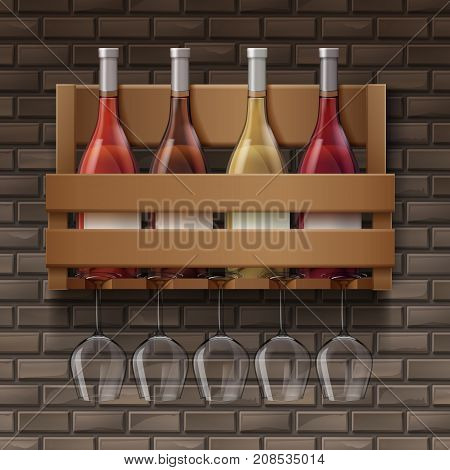 Vector wine bottles and wine glasses on wooden shelf in bar on bricks background